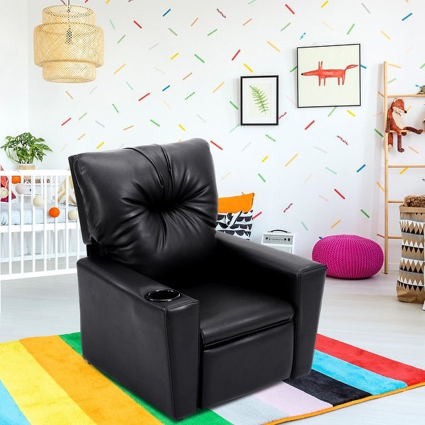 Shop Costway Kids Sofa Manual Recliner Leather Ergonomic Lounge W