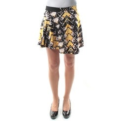 721205a753 Shop MATERIAL GIRL Black, Yellow Chevron Above The Knee Circle Skirt XS B+B  - Free Shipping On Orders Over $45 - Overstock - 21310992