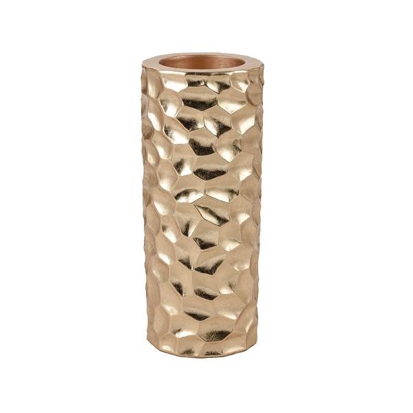 "23"" Metallic Gold Twist Textured Surface Design Planter - N/A"