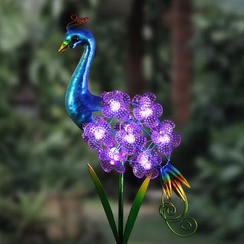"""Solar Spinning Flowers Peacock Stake - 7.0"""" x 3.5"""" x 33.5"""""""