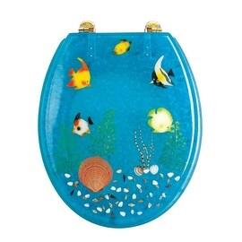 Polyresin Toilet Seat Ocean Floor Elongated Adjustable PVD