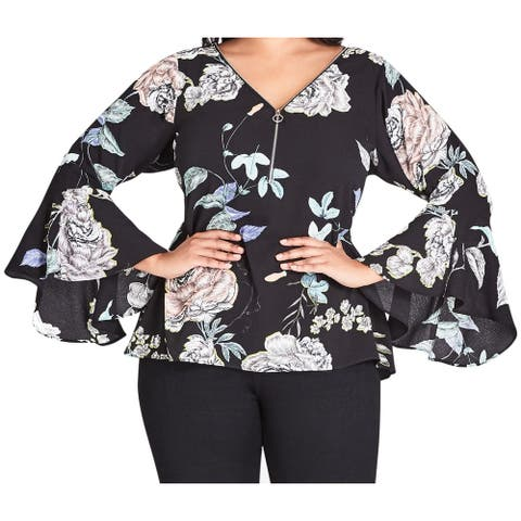 City Chic Womens Top Black Size 24W Plus Bell Sleeve Floral Print