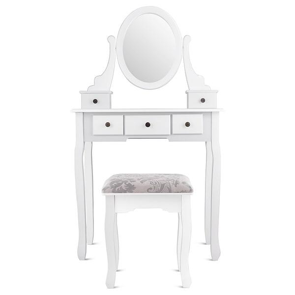 Dressing Table Stool Bedroom Vanity Set Makeup Desk Large Mirror Drawer Storage