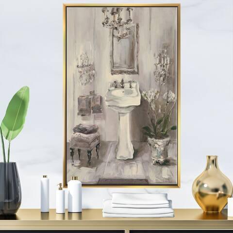Designart 'French Bathroom Vintage II' Traditional Bathroom Framed Canvas - Grey