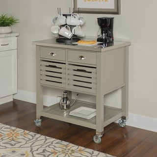 The Gray Barn White Squirrel Grey Wood Kitchen Cart