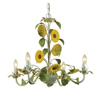 "AF Lighting 7048-4H Elements Series ""Kansas Sunflowers"" Four-Light Chandelier wi"