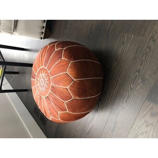 Stuffed Handmade Genuine Leather Moroccan Pouf, Ottoman