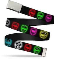 Blank Chrome Buckle Power Ranger Heads Black Multi Color Webbing Web Belt