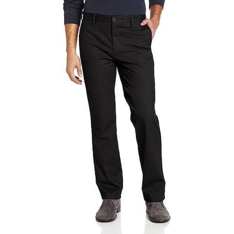 Dockers Men's Easy Khaki D1 Slim-Fit Flat-Front Pant, Black, 33W x 32L