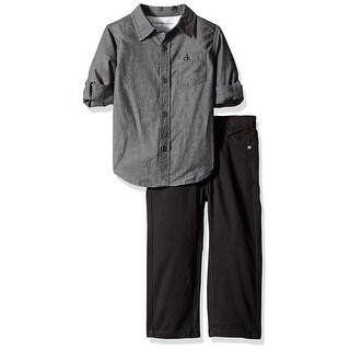 Calvin Klein Kids Boys 2T-4T Woven Top Jean Set - charcoal