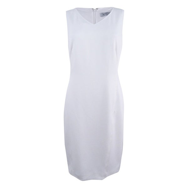 437eff8504c Shop Kasper Women s Knit Pique Dress - White - Free Shipping On Orders Over   45 - Overstock.com - 22047822