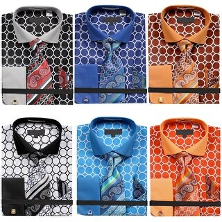 Men's Circle Pattern Printed Tone on Tone Dress Shirt with Tie Handkerchief and Cufflinks