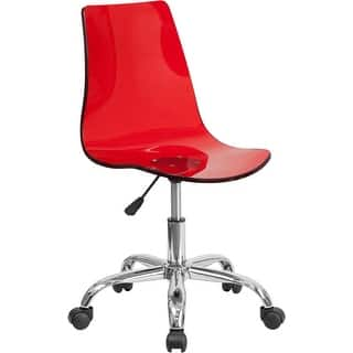 Bridgettine Mid-Back Transparent Red Acrylic Swivel Home/Office Task Chair|https://ak1.ostkcdn.com/images/products/is/images/direct/111b837b3847d0fd36b3f08e39e9fc3862687821/Medieval-Selection-Transparent-Red-Acrylic-Swivel-Home-Office-Task-Chair-w-Chrome-Base.jpg?impolicy=medium