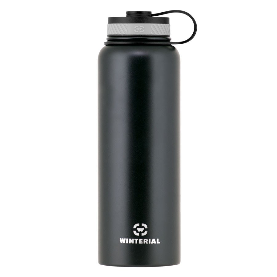 Winterial 40 oz Stainless Steel Insulated Double Walled Wide Mouth HOT & COLD Premium Water Bottle (Black) - Thumbnail 0