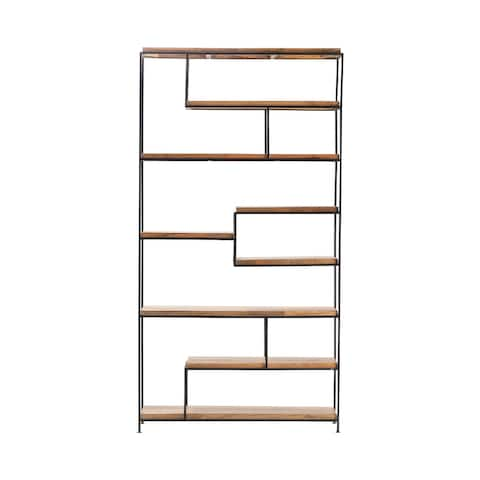 Bengal Manor Iron and Wood Offset Large Etagere - 85'' H x 45.5'' W x 13'' D