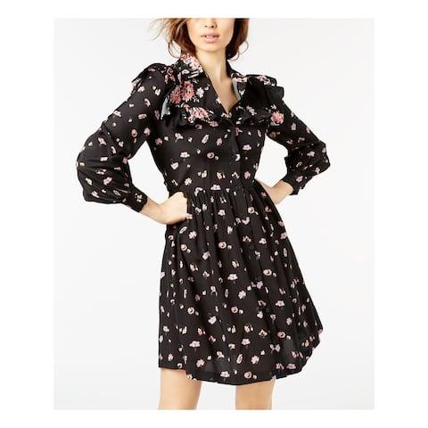 JILL STUART Black Long Sleeve Knee Length Shirt Dress Dress Size S