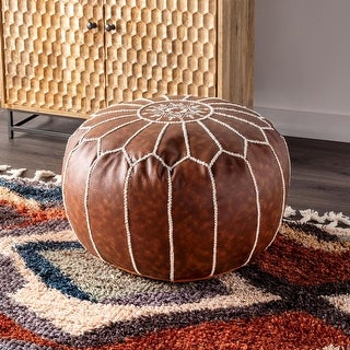 Link to nuLOOM Classic Moroccan Faux Leather Ottoman Pouf Similar Items in Living Room Furniture