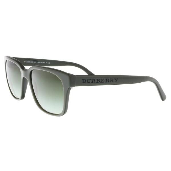 424153497d2a Shop Burberry BE4140 33738E Moss Green Rectangle Sunglasses - 55-18 ...