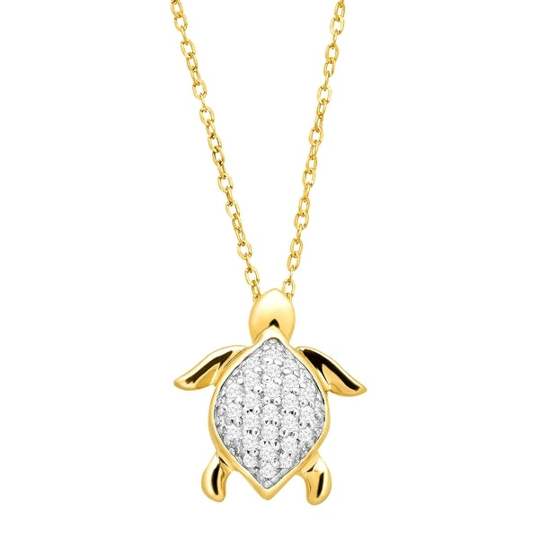 1/10 ct Diamond Turtle Pendant in 10K Gold