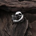 Vienna Jewelry Walking Skull Stainless Steel Emblem Ring - Thumbnail 1