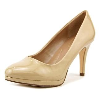 Style & Co Nikolet Women Round Toe Patent Leather Tan Heels
