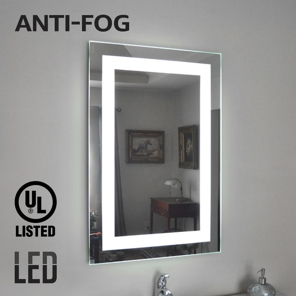 Fogless Led Lighted Makeup Mirror Wall Mounted Vanity Silver 32 24