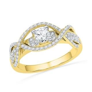14k Yellow Gold Womens Natural Round Diamond Woven Bridal Wedding Engagment Anniversary Ring 1/2 Cttw - White