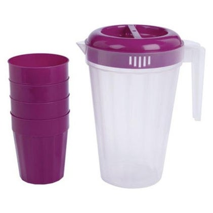 B & R Plastics PC24DHH Plastic Pitcher And Cup Set, Hollyhock