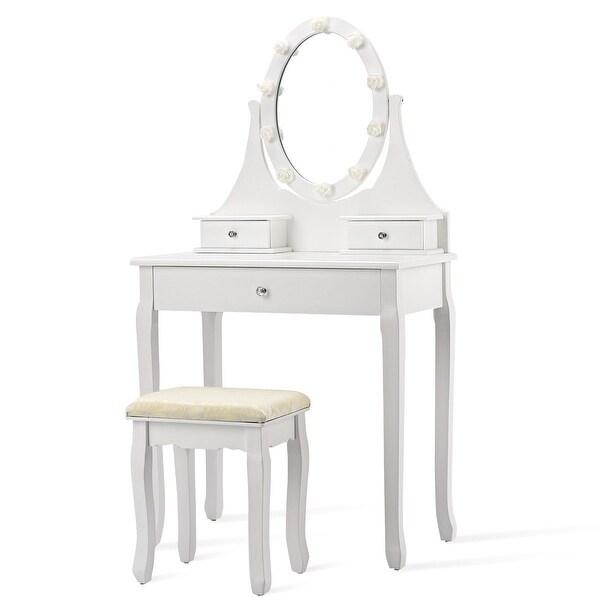 3 Drawers Lighted Mirror Vanity Makeup Dressing Table Stool Set - White