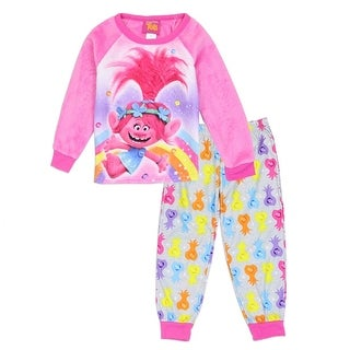 Trolls Little Girls Pink Rainbow Cartoon Inspired Print 2 Pc Pajama Set