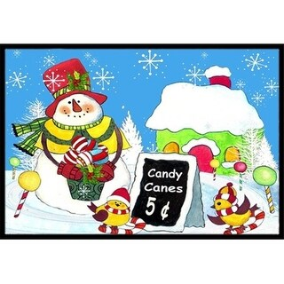 Carolines Treasures PJC1076MAT Candy Canes For   Snowman Indoor & Outdoor Mat 18 x 27 in.