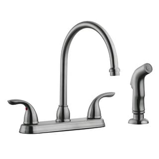 Design House 525089  Ashland Double Handle Kitchen Faucet with Metal Lever Handles and Sidespray - Satin Nickel