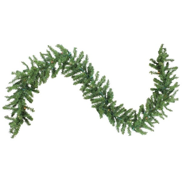 "9' X 10"" Pre-Lit Battery Operated Christmas Garland - Multi LED Lights - green"