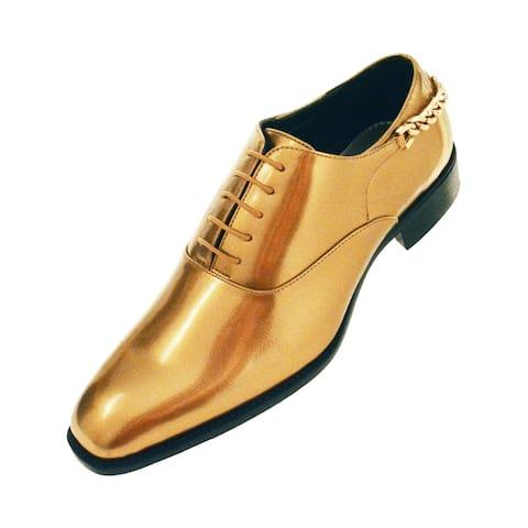 Bolano Mens Shiny Smooth Patent Plain Toe Oxford