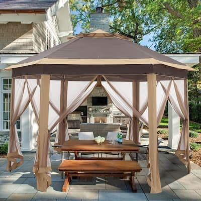 Ainfox Gazebo Outdoor Pop Up Canopy with Mosquito Net&Carrying Bag