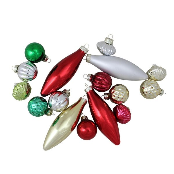 16-Piece Set of Traditional Finial, Ball and Onion Shaped Christmas Ornaments 4""
