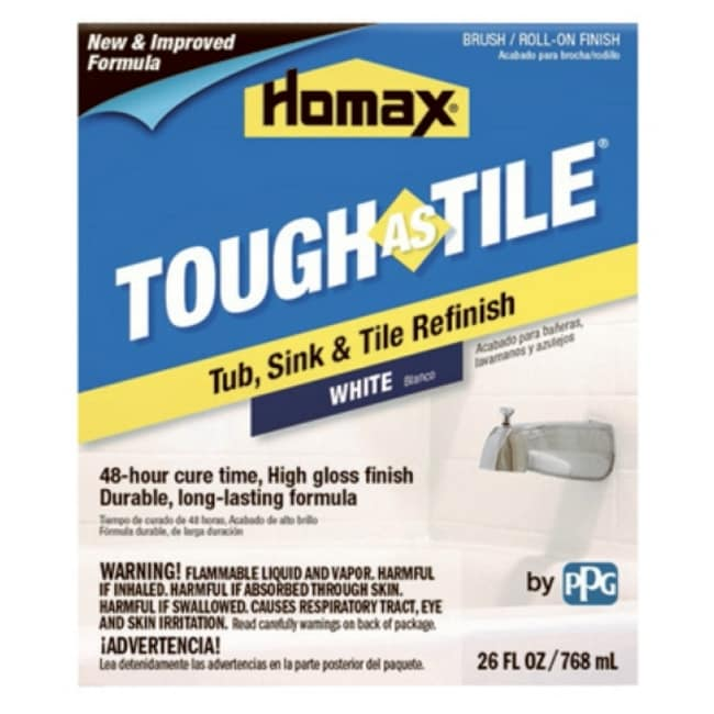 Homax 3158 Tough As Tile Tub & Tile Brush-On Epoxy Finish, White, 32 Oz