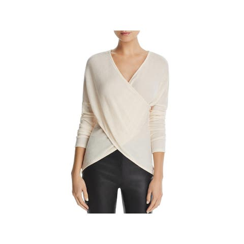 Three Dots Womens Wrap Sweater Crossover Ribbed Knit