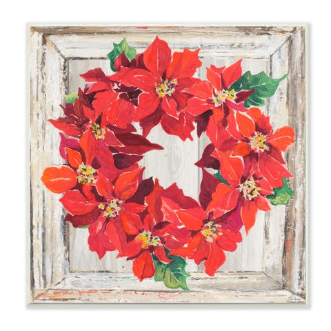 Stupell Industries Charming Winter Poinsettia Wreath Floral Red Wood Wall Art, 12x12