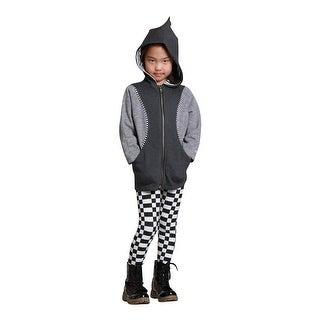 WonderLand Girls Charcoal Grey Panel Zipper Hooded Magda Coat