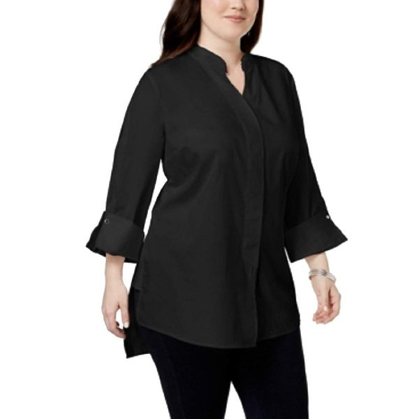 NY Collection Black Women's Size 2X Plus Hi Low Button Up Shirt