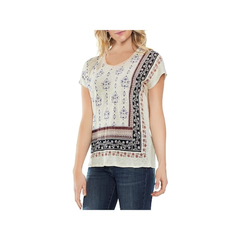 Vince Camuto Womens Zen Bloom Pullover Top Linen Printed