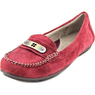 Naturalizer Kaster Women W Round Toe Suede Burgundy Loafer