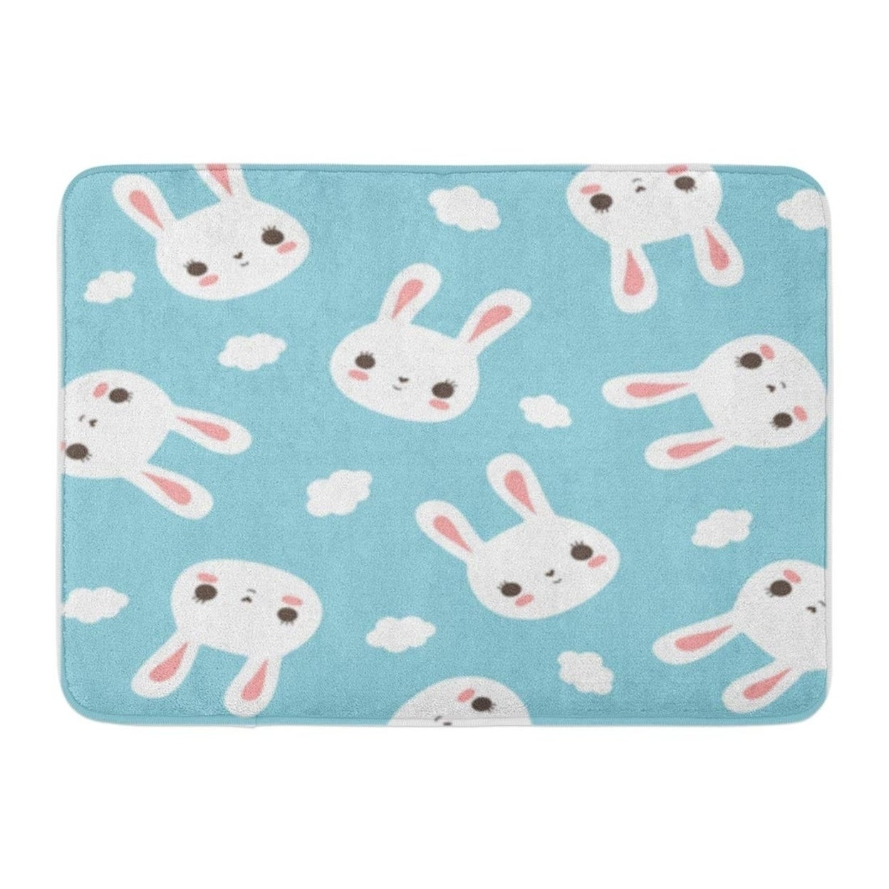 Shop Blue Cute Bunny And Clouds Pattern In Pastel Doormat Floor Rug Bath Mat 30x18 Inch Multi On Sale Overstock 31779895