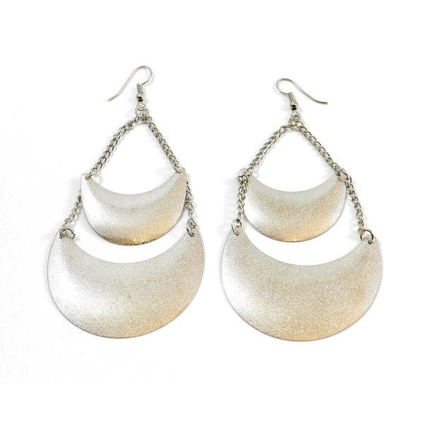 Matt Shimmer Dust Double Disk Tear Dangle Drop Fashion Earrings, Silver