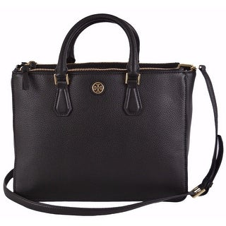 "Tory Burch Double Zip Robinson Convertible Multi Purse Handbag Tote - Black - 14.25"" x 10"" x 6.5"""