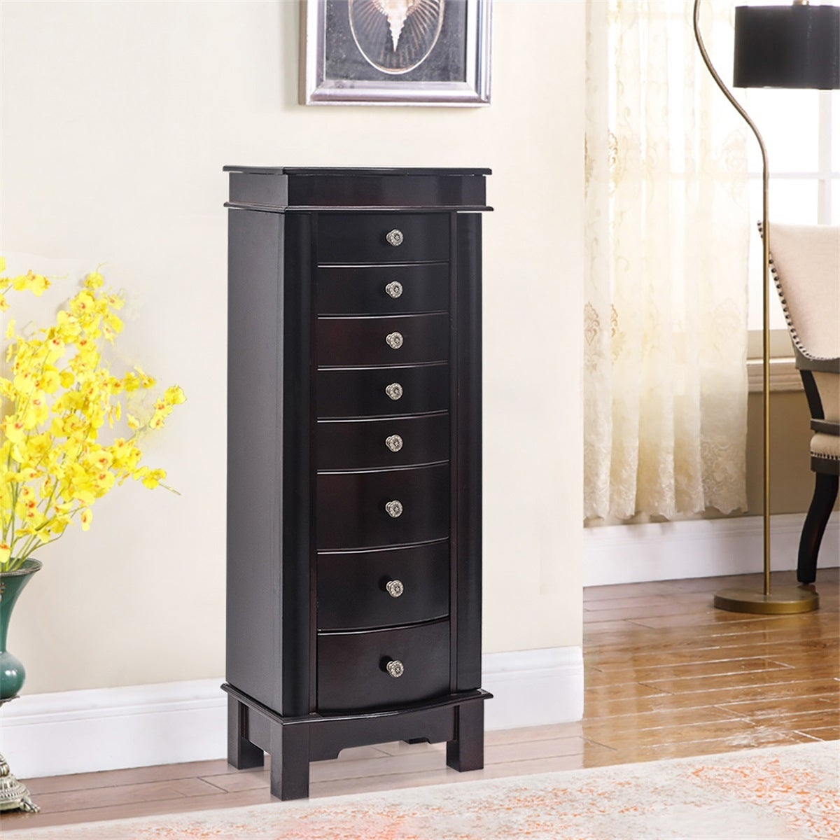 Image of: Shop Standing Jewelry Armoire With Mirror 5 Drawers 6 Necklace Hooks Overstock 31584693