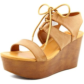 Rocket Dog Samora Women Open Toe Synthetic Tan Wedge Sandal