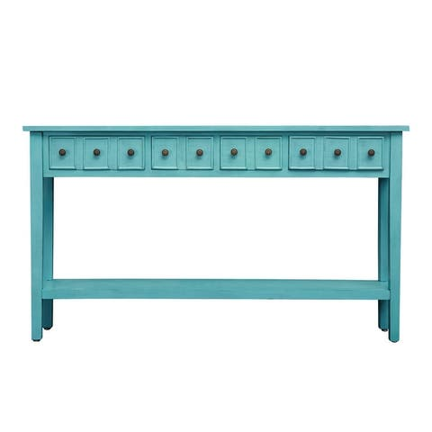 Kinbor Console Table Narrow End Table 2-Tier Entryway Sofa Table with Storage Drawers Shelf for Living Room, Hallway, Bedroom