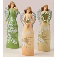 "8"" Beige and Silver Colored Graceful Angel with Flower Christmas Tabletop Figure"
